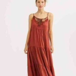 FREE PEOPLE PENELOPE MAXI TIERED DRESS LACE NWOT
